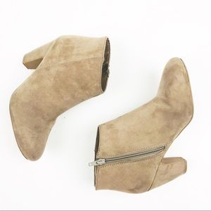 Express Zip Block Ankle Boots Nude Suede Booties